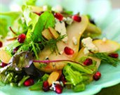 Pear Salad with Pomegranate Honey-Dijon Dressing and Blue Cheese Crumbles
