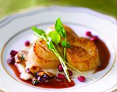 Seared Diver Sea Scallops with Toasted Hazelnut-Pomegranate Butter Sauce
