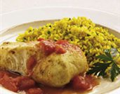 Halibut in Cider and Saffron Rice