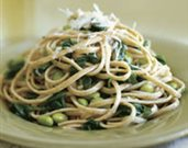 Whole Wheat Linguine with Arugula and Edamame