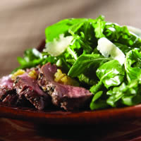 Grilled Lamb Loin Arugula Salad with Shaved Parmesan and Olive Jam: Main Image