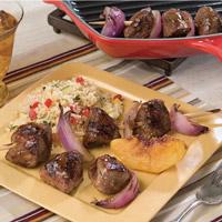 Grilled Peach and Lamb Kabobs: Main Image
