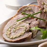 Pan-Roasted Lamb Stuffed with Kefalotiri Cheese on Arugula Salad: Main Image
