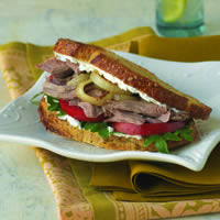 Pulled Lamb Sandwiches with Goat Cheese, Arugula, and Caramelized Onions: Main Image