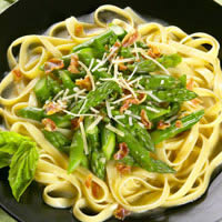 Asparagus Fettuccini with Pancetta and Basil in a White Wine Broth: Main Image