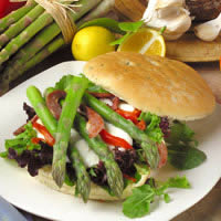 Asparagus Sandwich with Roasted Red Pepper, Mozzarella, Pancetta, and Lemon Aioli: Main Image