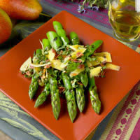 Grilled Fresh Asparagus with Pancetta, Pepato Cheese, and Herbs: Main Image