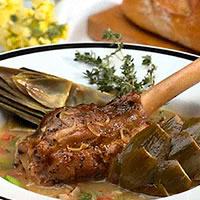 Braised Lamb Shanks with Artichokes and Fava Beans: Main Image