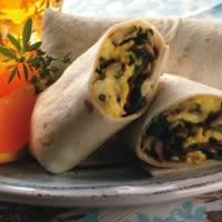 Bacon, Egg, and Mushroom Burritos: Main Image