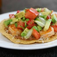 Shrimp Tostadas with Avocado Salsa: Main Image