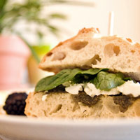 Olive Tapenade, Goat Cheese, and Baby Spinach Sandwich: Main Image