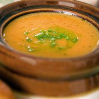 Roasted Sweet Potato and Butternut Squash Soup with Chive Oil: Main Image