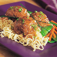 Asian Veal Meatballs with Noodles: Main Image