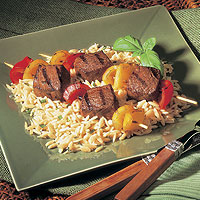 Beef Kabobs with Parmesan Orzo: Main Image