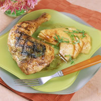 Basil and Five-Spice Chicken Legs with Cantaloupe Salad: Main Image