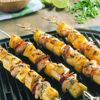 Grilled Chicken, Plantain, and Pineapple Skewers: Main Image