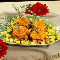 Jerk Chicken Thighs on Sweet Potato Pancakes: Main Image