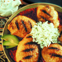 Peruvian Grilled Chicken Thighs with Tomato-Cilantro Sauce: Main Image