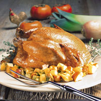 Roast Chicken with Spiced Mushroom and Vegetable Stuffing: Main Image