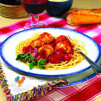 Spaghetti and Chicken Meatballs: Main Image