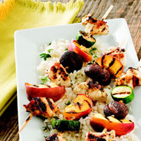 Grilled Chicken and Peach Kabobs: Main Image