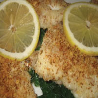 Crumb-Topped Haddock over Spinach: Main Image