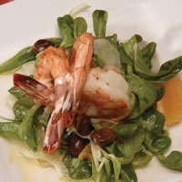 Fennel Seasoned Prawns with Taggiasca Olive Relish: Main Image
