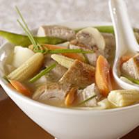 Gingered Pork-Vegetable Soup with Wonton Noodles: Main Image