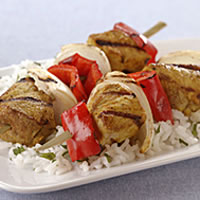 Grilled Indian Pork Kabobs with Sweet Onions and Red Bell Peppers: Main Image