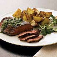 Mushroom Pesto Steak and Hot Pepper Potatoes: Main Image