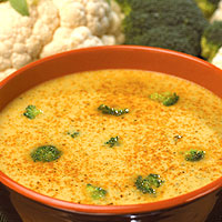 Curried Broccoli and Cauliflower Soup: Main Image
