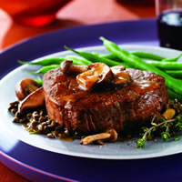 Beef Tenderloin with Savory Saucy Mushrooms and Lentils: Main Image