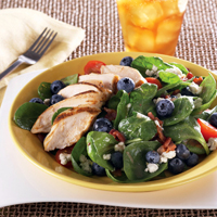 Blueberry and Spinach Salad with Hot Bacon Dressing: Main Image
