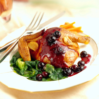 Roast Cornish Game Hens with Sauteed Blueberries: Main Image
