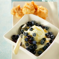 Blueberry Risotto Fritters with Blueberry-Ginger Sauce: Main Image